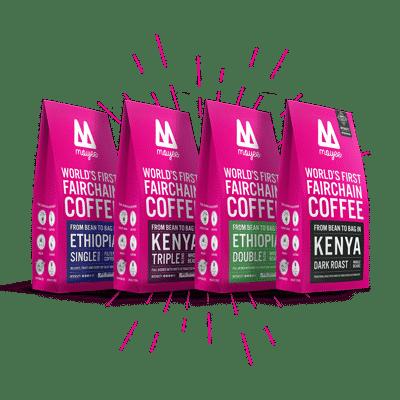 Proefpakket 4 zakken Moyee FairChain Koffie uit Ethiopië en Kenia.